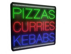 Pizzas, Curries, Kebabs Bright LED Sign (LDX-12)